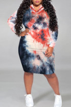 Red Gray Casual Print Tie Dye Split Joint Hooded Collar Straight Plus Size Dresses