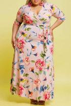 Pink Fashion Casual Plus Size Print Bandage V Neck Long Dress