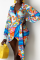Multicolor Sexy Print Split Joint Turndown Collar Shirt Dress Dresses