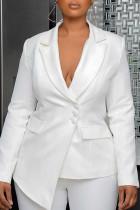 White Work Solid Split Joint Asymmetrical Turn-back Collar Outerwear