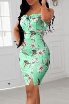 Light Green Sexy Print Split Joint Flounce Spaghetti Strap Sling Dress Dresses