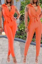 Tangerine Red Casual Solid Split Joint Turndown Collar Sleeveless Two Pieces