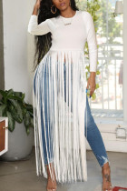 White Fashion Sexy Fringed Long Sleeved Top