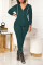 Ink Green Casual Solid Split Joint Hooded Collar Long Sleeve Two Pieces