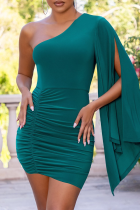 Green Sexy Solid Split Joint One Shoulder Pencil Skirt Dresses