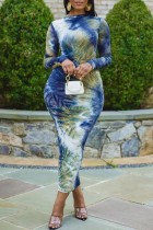 Multicolor Fashion Casual Tie Dye Printing O Neck Long Sleeve Dresses