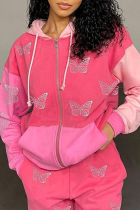 Pink Casual Butterfly Print Split Joint Hooded Collar Outerwear
