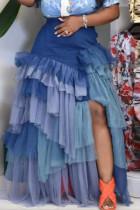 Blue Fashion Casual Patchwork Slit Asymmetrical Plus Size Pleated Skirt