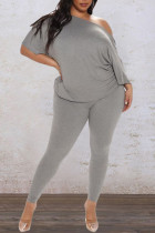 Grey Casual Solid Split Joint Backless Knotted Asymmetrical O Neck Plus Size Two Pieces