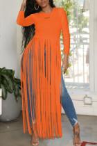 Orange Fashion Sexy Fringed Long Sleeved Top