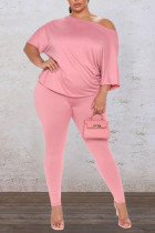 Pink Casual Solid Split Joint Backless Knotted Asymmetrical O Neck Plus Size Two Pieces