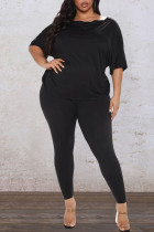 Black Casual Solid Split Joint Backless Knotted Asymmetrical O Neck Plus Size Two Pieces