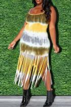 Yellow Sexy Print Tassel Square Collar Straight Plus Size Dresses