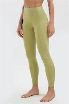 Green Casual Sportswear Solid High Waist Butt-lifting Yoga Trousers
