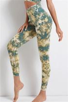Green Casual Sportswear Print Basic High Waist Yoga Trousers