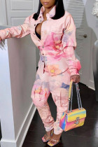 Pink Fashion Casual Print Buttons Turndown Collar Long Sleeve Two Pieces