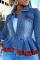 Light Blue Casual Solid Flounce Turndown Collar Long Sleeve Skinny Denim Jacket