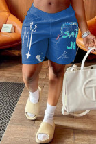 Sky Blue Fashion Casual Print Basic Loose Mid Waist Shorts