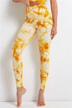 Yellow Casual Sportswear Print Basic High Waist Yoga Trousers