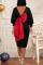 Black Casual Solid Split Joint V Neck Lantern Skirt Dresses