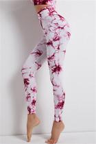 Red Casual Sportswear Print Basic High Waist Yoga Trousers