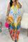 Multicolor Sexy Print Split Joint Spaghetti Strap Straight Dresses
