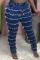 Dark Blue Casual Solid Tassel Plus Size Jeans
