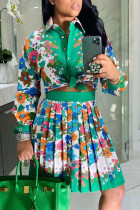 Turquoise Sweet Print Split Joint Turndown Collar Long Sleeve Two Pieces