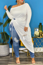 White Casual Solid Split Joint One Shoulder Plus Size Dresses