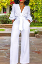 White Casual Solid Split Joint Buttons Without Belt V Neck Straight Jumpsuits