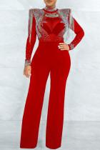 Red Fashion Sexy Patchwork Tie Dye See-through Half A Turtleneck Regular Jumpsuits