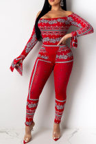 Red Sexy Print Split Joint Off the Shoulder Long Sleeve Two Pieces