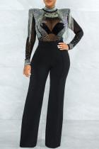 Black Fashion Sexy Patchwork Tie Dye See-through Half A Turtleneck Regular Jumpsuits