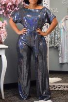 Blue Fashion street Solid Short Sleeve one shoulder collar Jumpsuits