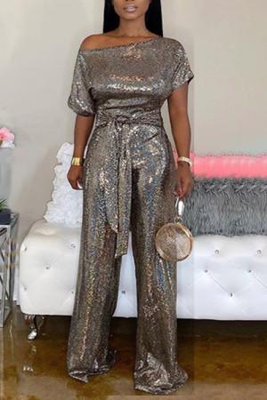 Gold Fashion street Solid Short Sleeve one shoulder collar Jumpsuits
