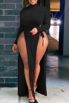 Black Sexy Solid Hollowed Out Split Joint Frenulum High Opening Half A Turtleneck Straight Plus Size Dresses