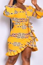 Yellow Fashion Casual Print Bandage V Neck Irregular Dress