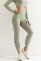 Army Green Casual Sportswear Solid Basic High Waist Yoga Trousers
