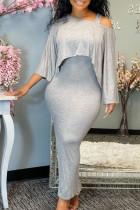 Grey Sexy Solid Asymmetrical Oblique Collar Long Sleeve Two Pieces