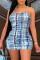 Blue Fashion Sexy Print Backless Spaghetti Strap Sleeveless Dress
