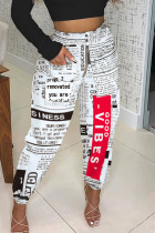 White Casual Print Split Joint Loose High Waist Pencil Full Print Bottoms