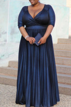 Royal Blue Fashion Plus Size Solid V Neck Long Sleeve Pleated Dresses