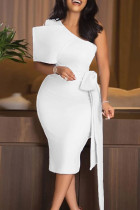White Elegant Solid Split Joint With Bow Oblique Collar Pencil Skirt Dresses