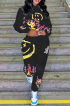 Black Street Print Split Joint Hooded Collar Long Sleeve Two Pieces