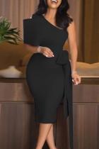 Black Elegant Solid Split Joint With Bow Oblique Collar Pencil Skirt Dresses