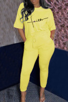 Yellow Casual Letter Print Split Joint O Neck Half Sleeve Two Pieces