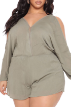 Green Casual Solid Split Joint V Neck Plus Size Jumpsuits
