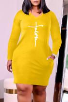 Yellow Fashion Casual Print Basic V Neck Long Sleeve Plus Size Dresses