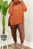 Orange Fashion Casual Print Leopard Slit V Neck Plus Size Two Pieces
