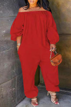 Red Fashion Casual Solid Basic Off the Shoulder Plus Size Jumpsuits (No Pocket)